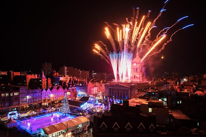Fireworks light up the sky over the Old Market Square. (Photo: Neil Squires/PA Images via Getty Images)