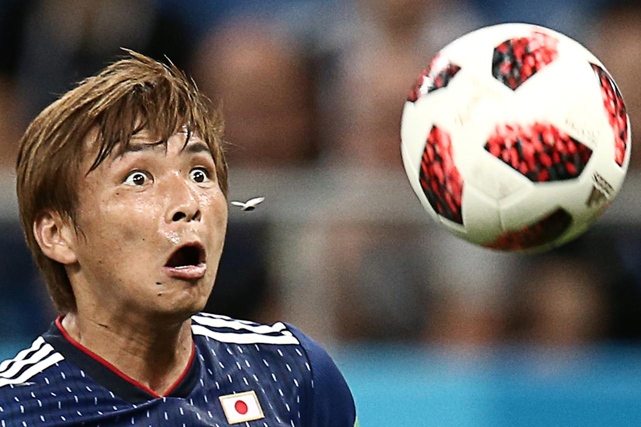 <p>Japan's Takashi Inui in action in their 2018 FIFA World Cup Round of 16 football match against Belgium at Rostov Arena Stadium. Valery Sharifulin/TASS (Photo by Valery Sharifulin\TASS via Getty Images) </p>