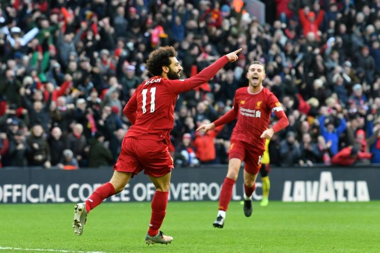 Liverpool's Mohamed Salah (L) has scored four goals in his past three games