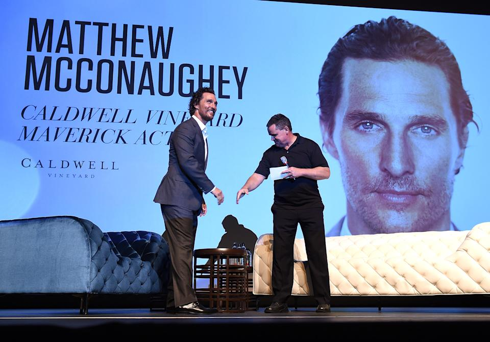 YOUNTVILLE, CA - NOVEMBER 10: Matthew McConaughey and Moderator Mike Fleming attend the Matthew McConaughey Caldwell Vineyard Maverick Actor Tribute at the Lincoln Theater during the 2016 Napa Valley Film Festival on November 10, 2016 in Yountville, California. (Photo by Frank Micelotta/PictureGroup) *** Please Use Credit from Credit Field ***