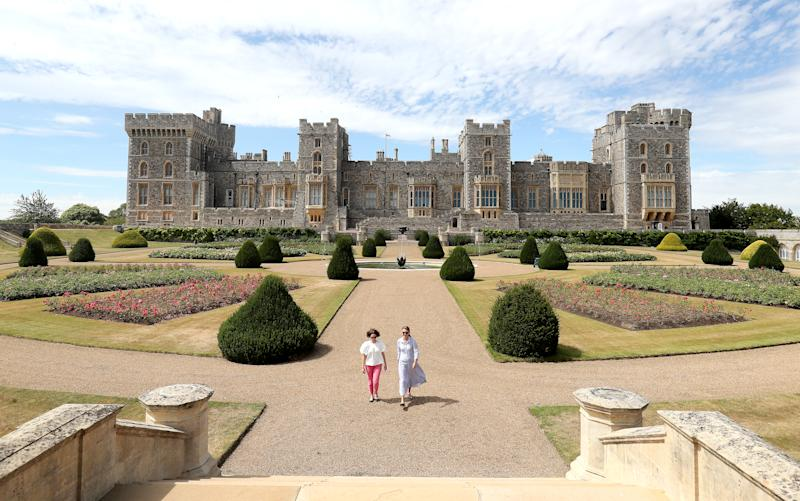 WINDSOR, ENGLAND - AUGUST 05: Visitors look around Windsor Castle's East Terrace Garden as it prepares to open to the public at Windsor Castle on August 05, 2020 in Windsor, England. This is the first time in over forty years the gardens have been open to the public. (Photo by Chris Jackson/Getty Images)