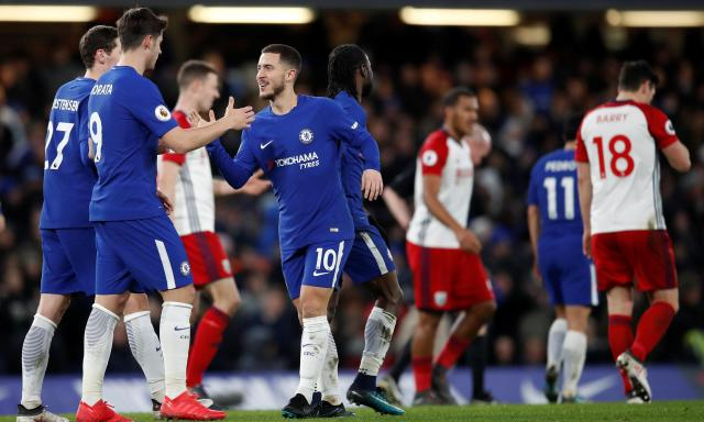 Eden Hazard (No10) celebrates scoring his second and Chelsea's third of the night in the 3-0 win against West Brom.