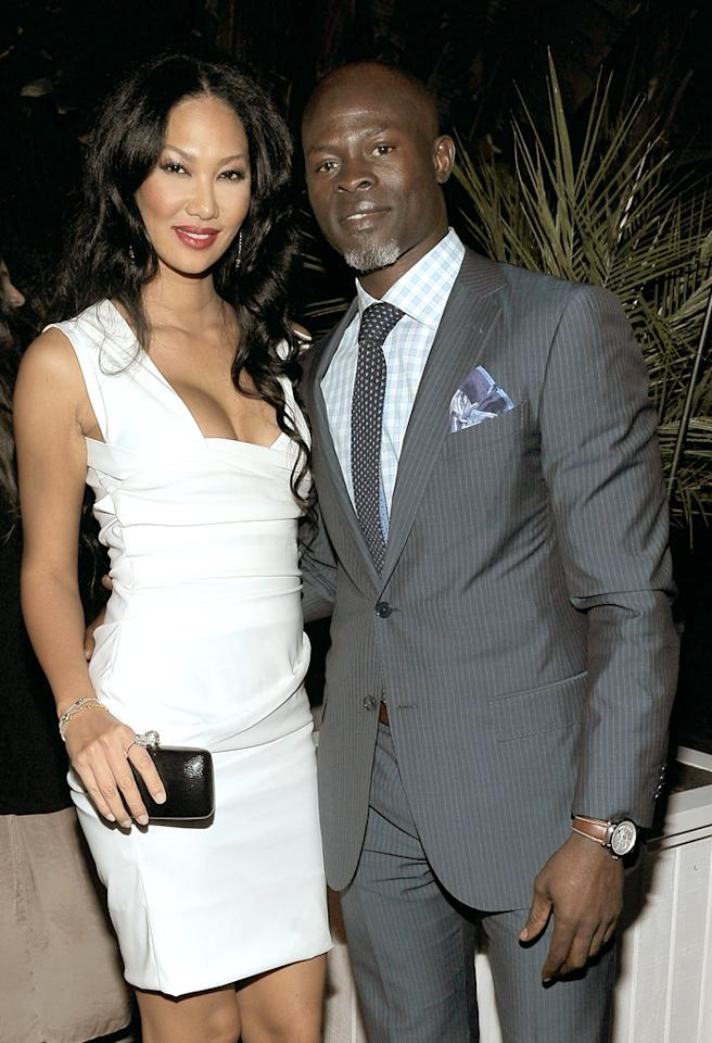 LOS ANGELES, CA - FEBRUARY 22:  Actress/model Kimora Lee (L) and actor Djimon Hounsou wearing Ermenegildo Zegna attend the Vanity Fair and Ermenegildo Zegna Dinner hosted by Colin &  Livia Firth and Anna Zegna, in support of Oxfam America and The Green Carpet Challenge at Chateau Marmont on February 22, 2012 in Los Angeles, California.  (Photo by Charley Gallay/Getty Images for VF)