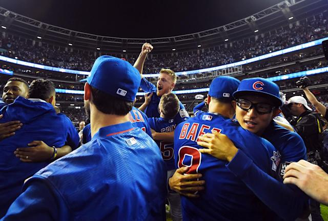 <p>Chicago Cubs players celebrate on the field after defeating the Chicago Cubs in game seven of the 2016 World Series at Progressive Field. Mandatory Credit: Tommy Gilligan-USA TODAY Sports </p>