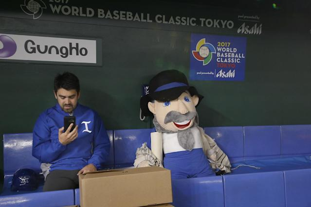 """The Mensch on the Bench,"" the titular stuffed mascot who accompanied the team everywhere during the 2017 World Baseball Classic. (AP)"