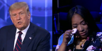 Trump mistakenly tells weeping voter her mother died of coronavirus, not cancer (Twitter / ABC News)