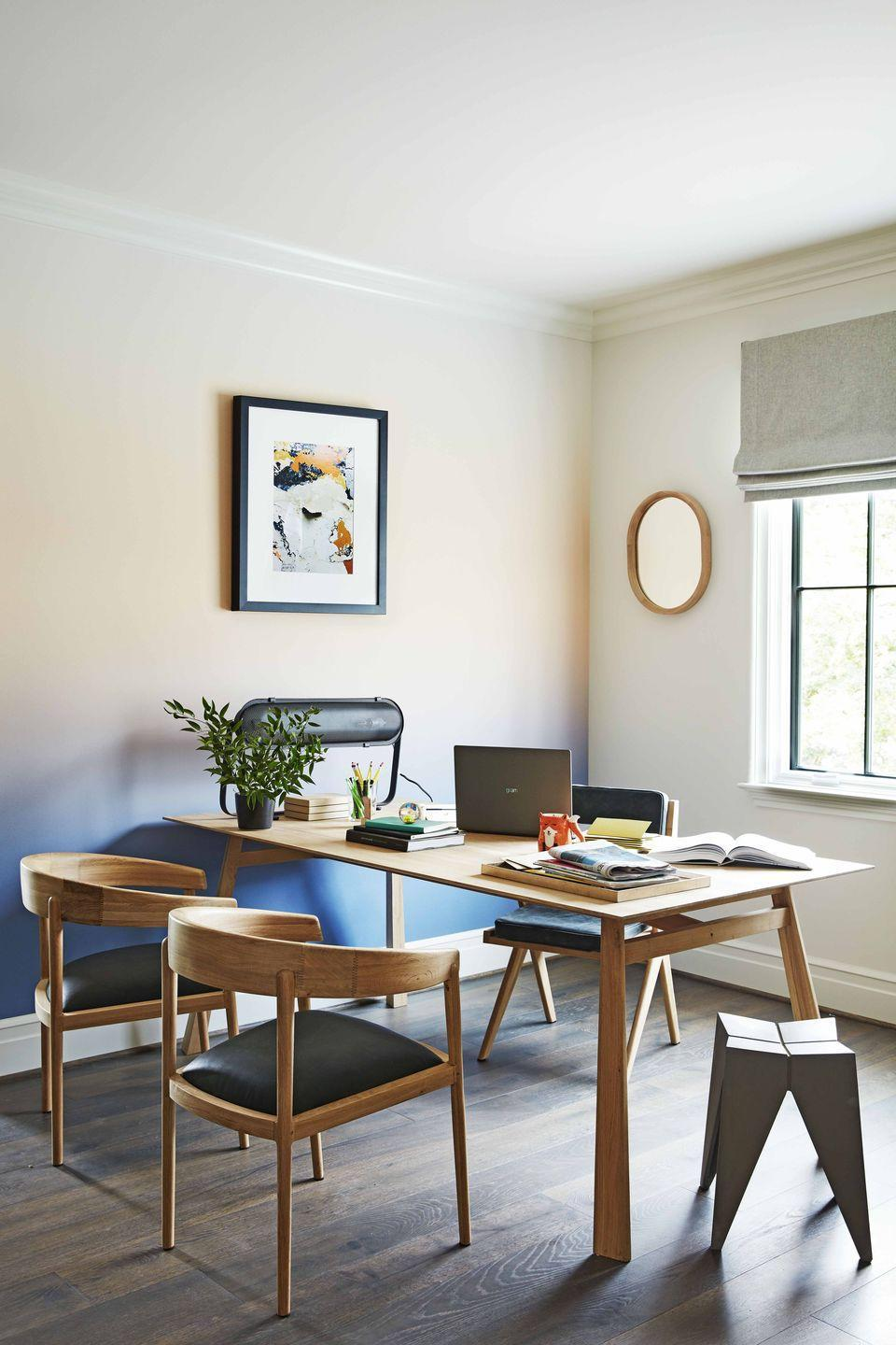 """<p>For our <a href=""""https://www.housebeautiful.com/design-inspiration/house-tours/a29402696/whole-home-2019/"""" rel=""""nofollow noopener"""" target=""""_blank"""" data-ylk=""""slk:2019 Whole Home"""" class=""""link rapid-noclick-resp"""">2019 Whole Home</a> in Nashville, <a href=""""https://www.housebeautiful.com/lifestyle/a26016246/dani-arps-interior-designer/"""" rel=""""nofollow noopener"""" target=""""_blank"""" data-ylk=""""slk:Dani Arps"""" class=""""link rapid-noclick-resp"""">Dani Arps</a>—a go-to office designer for New York startups—created an airy, clutter-free space that lacked one notable feature: a desk. """"Most files are stored digitally, so bulky office furniture with tons of storage isn't necessary,"""" said Arps, who instead opted for a large, streamlined work table from Industry West.</p>"""