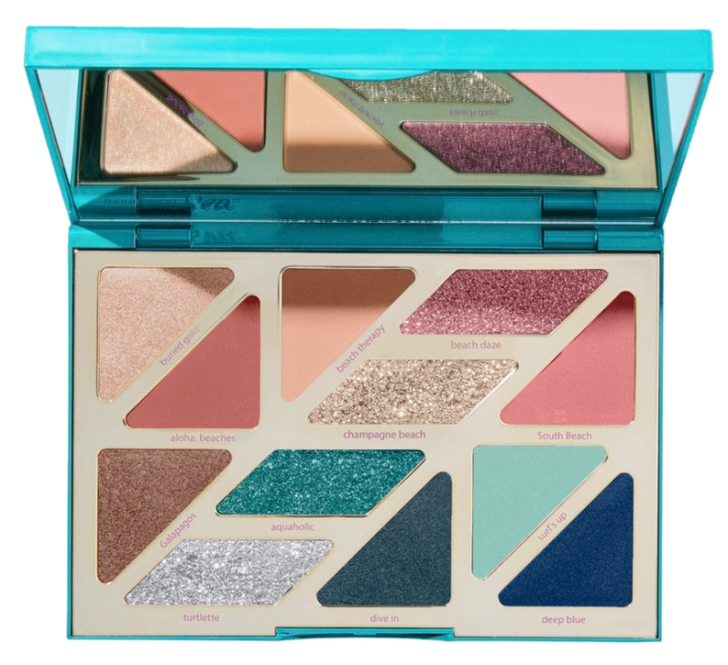 The picture shows a Tarte Rainforest Of The Sea High Tides & Good Vibes Eyeshadow Palette open with the mirror visible