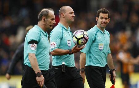 Britain Soccer Football - Hull City v Watford - Premier League - The Kingston Communications Stadium - 22/4/17 Referee Robert Madley after the match Action Images via Reuters / Jason Cairnduff Livepic