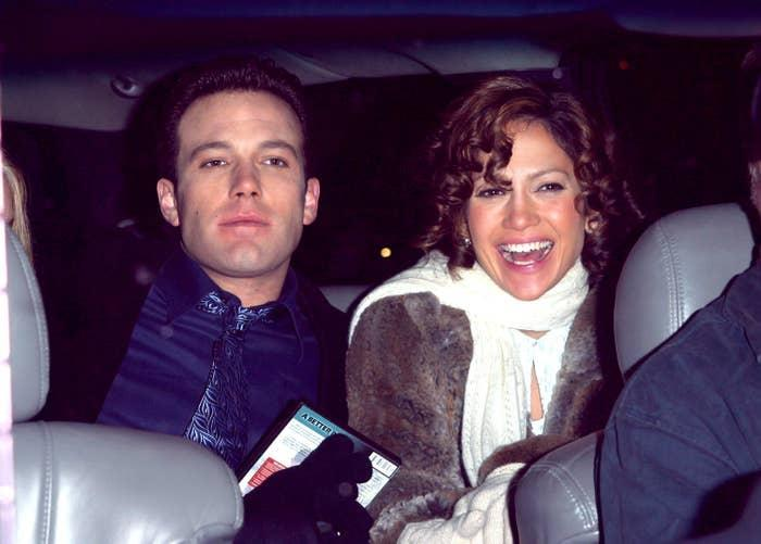 Ben Affleck and Jennifer Lopez are pictured while filming Jersey Girl in New York City