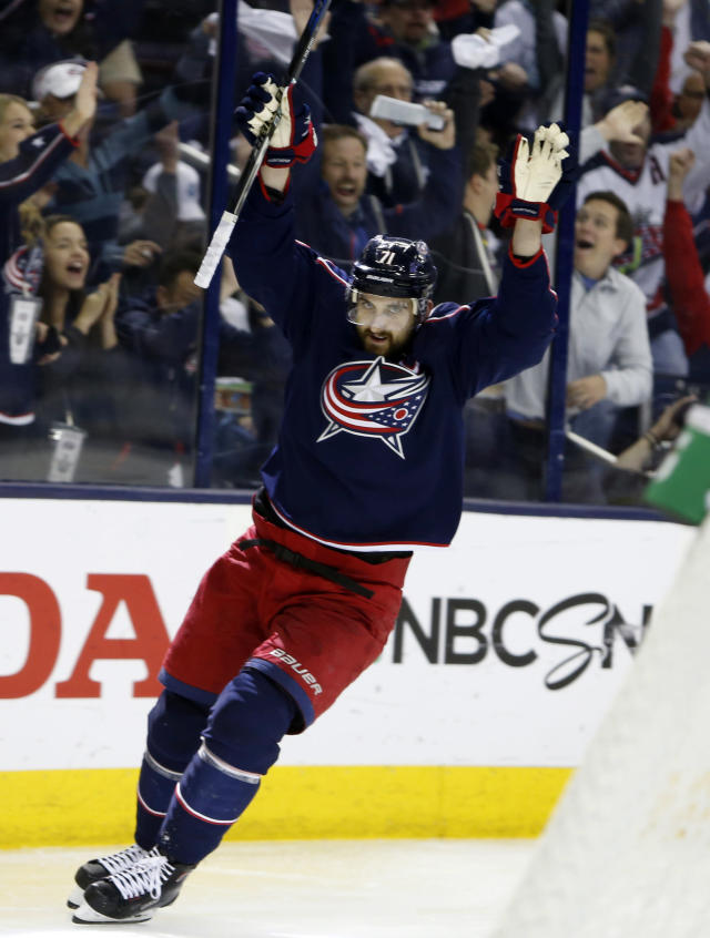 Columbus Blue Jackets' Nick Foligno celebrates his goal against the Washington Capitals during the second period of Game 6 of an NHL first-round hockey playoff series Monday, April 23, 2018, in Columbus, Ohio. (AP Photo/Jay LaPrete)