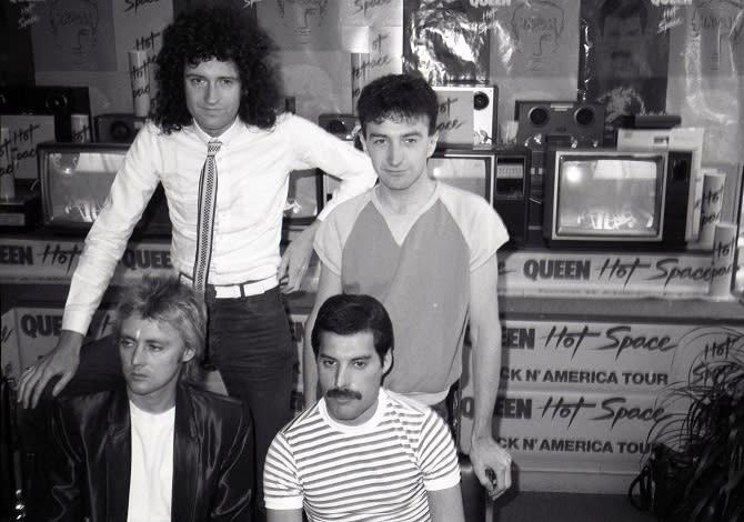 Roger Taylor, Brian May,  John Deacon and Freddie Mercury of Queen attend Queen Press Conference for