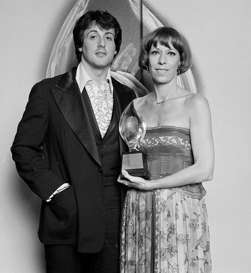 <p>Stallone poses backstage with Carol Burnett at the People's Choice Awards on February 10, 1977. (Photo: Getty Images)<br /></p>