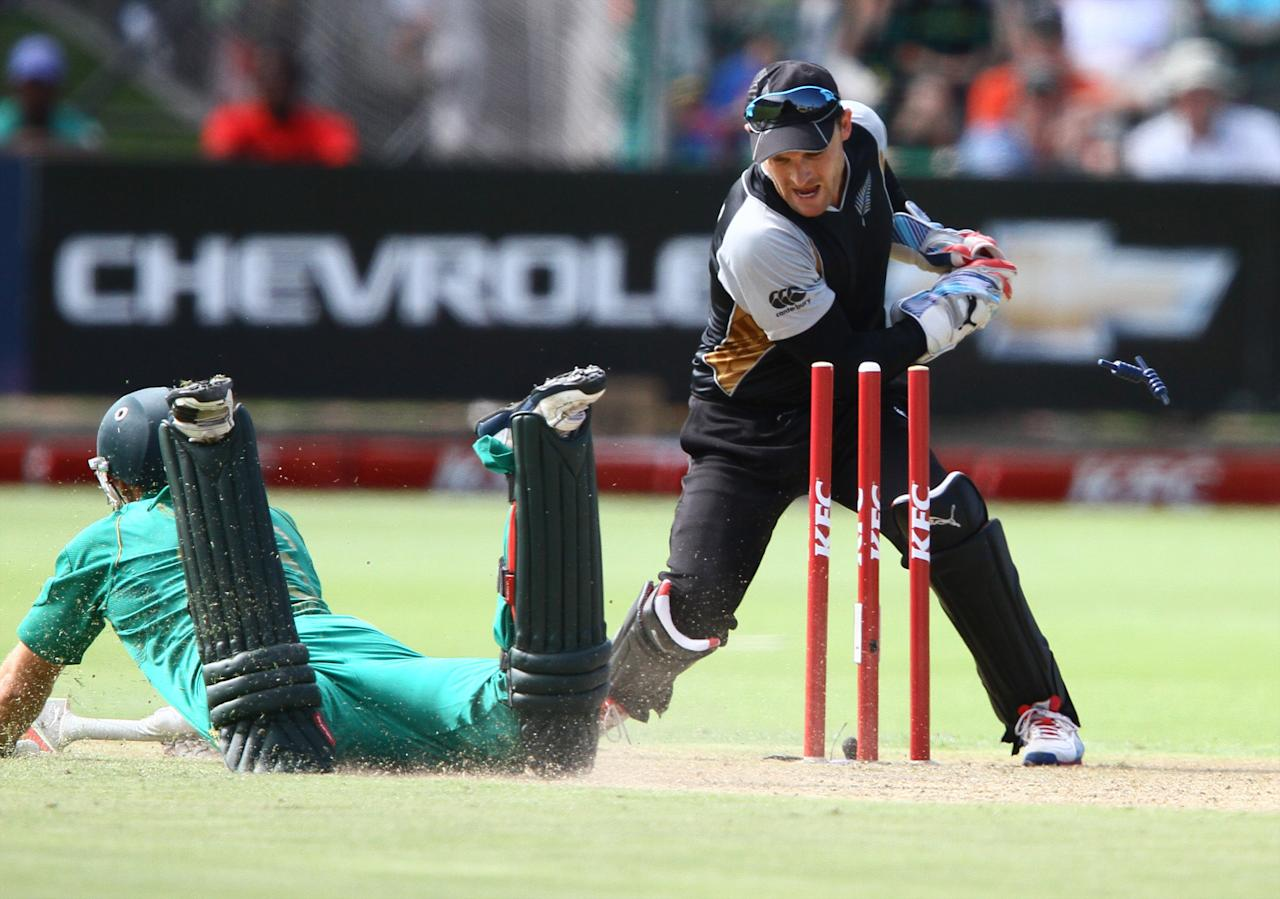 PORT ELIZABETH, SOUTH AFRICA - DECEMBER 26: David Miller of South Africa makes his ground during the 3rd T20 International match between South Africa and New Zealand at AXXESS St Georges on December 26, 2012 in Port Elizabeth, South Africa. (Photo by Richard Huggard / Gallo Images/Getty Images)
