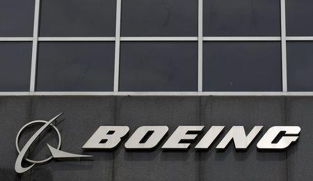 File photo of Boeing logo at their headquarters in Chicago