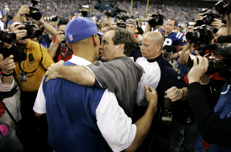Tony Dungy and Bill Belichick after the Colts beating the Patriots in a classic 10 years ago. (AP)