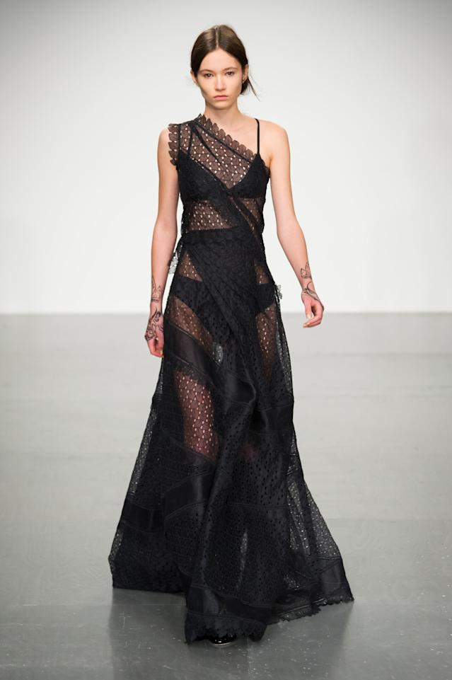 <p><i>Black sheer-lace dress from the SS18 Antonio Berardi collection. (Photo: IMAXtree) </i></p>