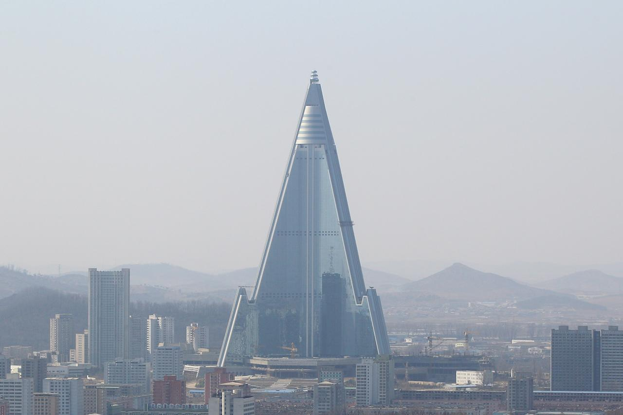 PYONGYANG, NORTH KOREA - APRIL 03:  North Korea's tallest structure, the Ryugyong Hotel, is seen  on April 3, 2011 in Pyongyang, North Korea. Pyongyang is the capital city of North Korea and the population is about 2,500,000.  (Photo by Feng Li/Getty Images)