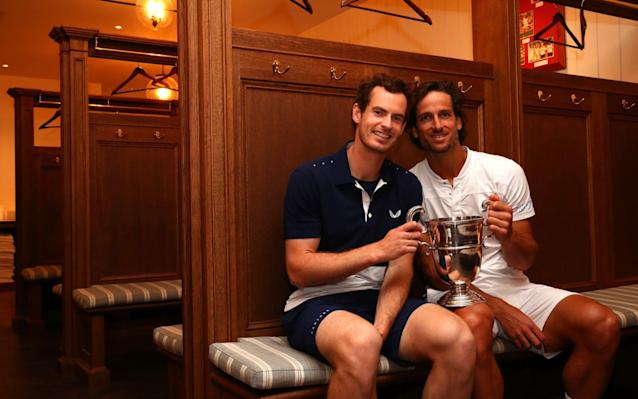 Murray and Lopez celebrate their Queen's Club men's doubles title - Getty Images Europe