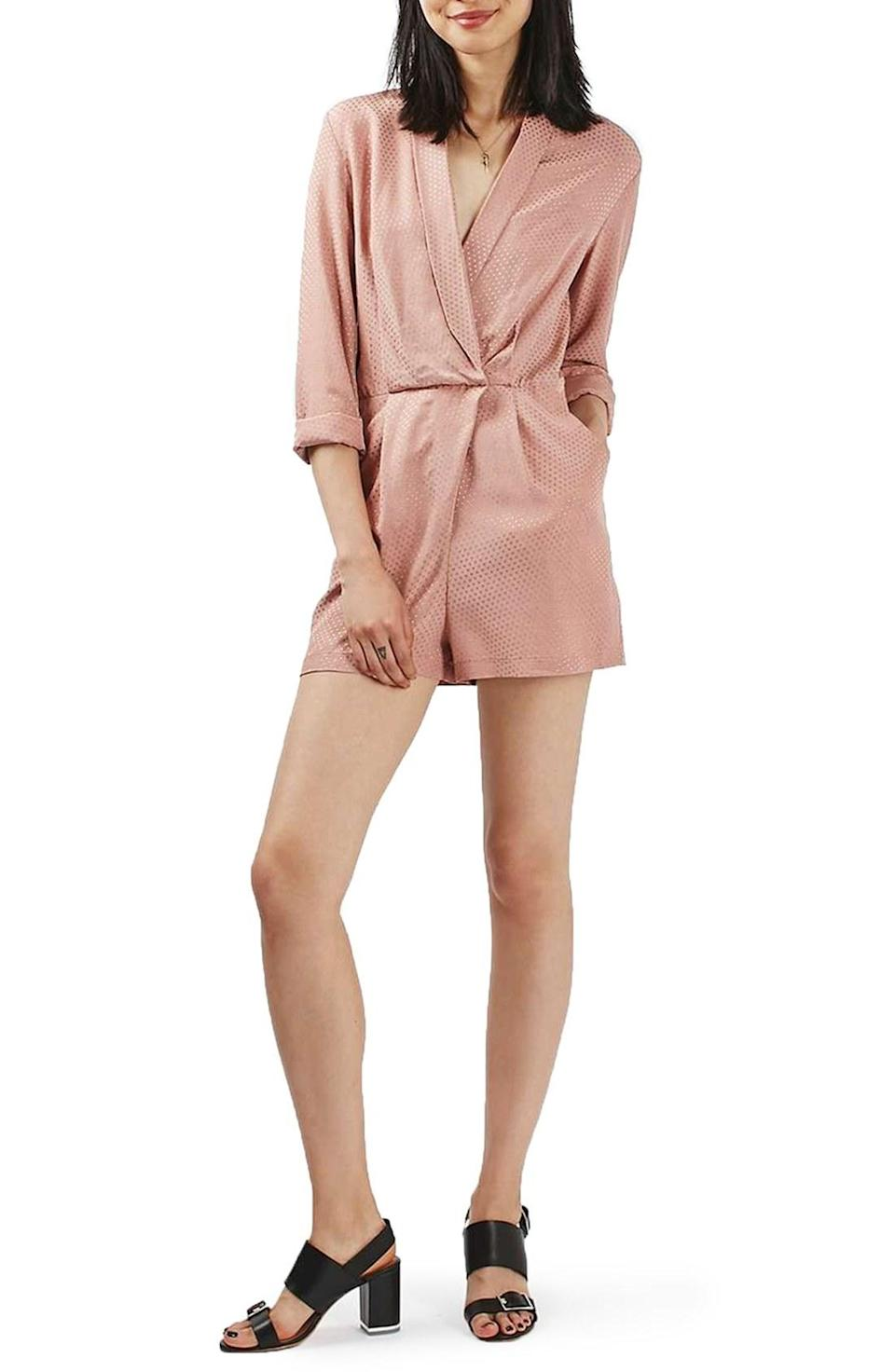 "<p>It's an amazing day when you can skip pants and throw on a romper. This style has a look that can be cute or daring. We love the pindot detail on this blush pink wrap romper</p><p><i>Topshop Pindot Wrap Playsuit, $95, <a href=""http://www.thebay.com/webapp/wcs/stores/servlet/en/thebay/womens-apparel/womens-pants-jumpsuits-rompers/pindot-wrap-playsuit-0001-36p14kbls--24"" rel=""nofollow noopener"" target=""_blank"" data-ylk=""slk:thebay.com"" class=""link rapid-noclick-resp"">thebay.com</a></i></p>"