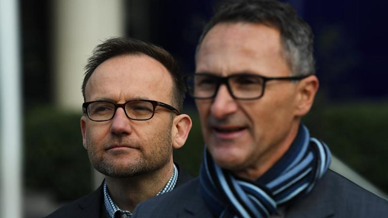 Adam Bandt (left) is poised to replace Richard Di Natale (R) as Australian Greens leader