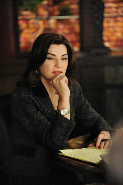 """""""Boom De Yah Da""""-- Alicia (Julianna Margulies) squares off once again with Louis Canning as she tries to depose a CEO, on """"The Good Wife."""""""