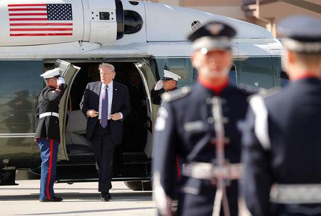 U.S. President Donald Trump arrives on Marine One at Osan Air Base, South Korea, as he prepares to depart for Beijing, November 8, 2017. REUTERS/Jonathan Ernst