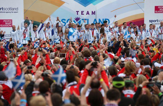 Team Scotland gold medalists during the Commonwealth Games parade in Glasgow (Andrew Milligan/PA)