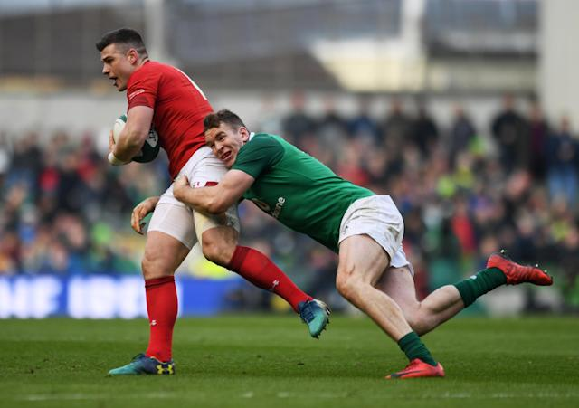 Rugby Union - Six Nations Championship - Ireland vs Wales - Aviva Stadium, Dublin, Republic of Ireland - February 24, 2018 Ireland's Chris Farrell in action with Wales' Scott Williams REUTERS/Clodagh Kilcoyne