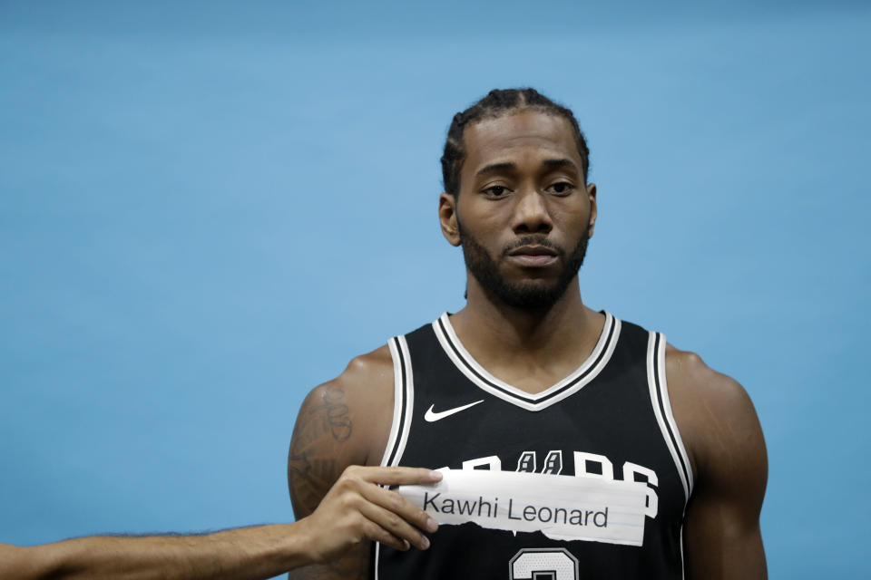 Kawhi Leonard is excited. (AP)