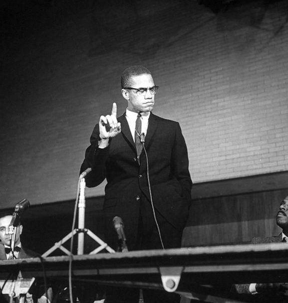 PHOTO: Malcolm X reacts during a speech at a rally . (Time Life Pictures/The LIFE Picture Collection via Getty Images, FILE)