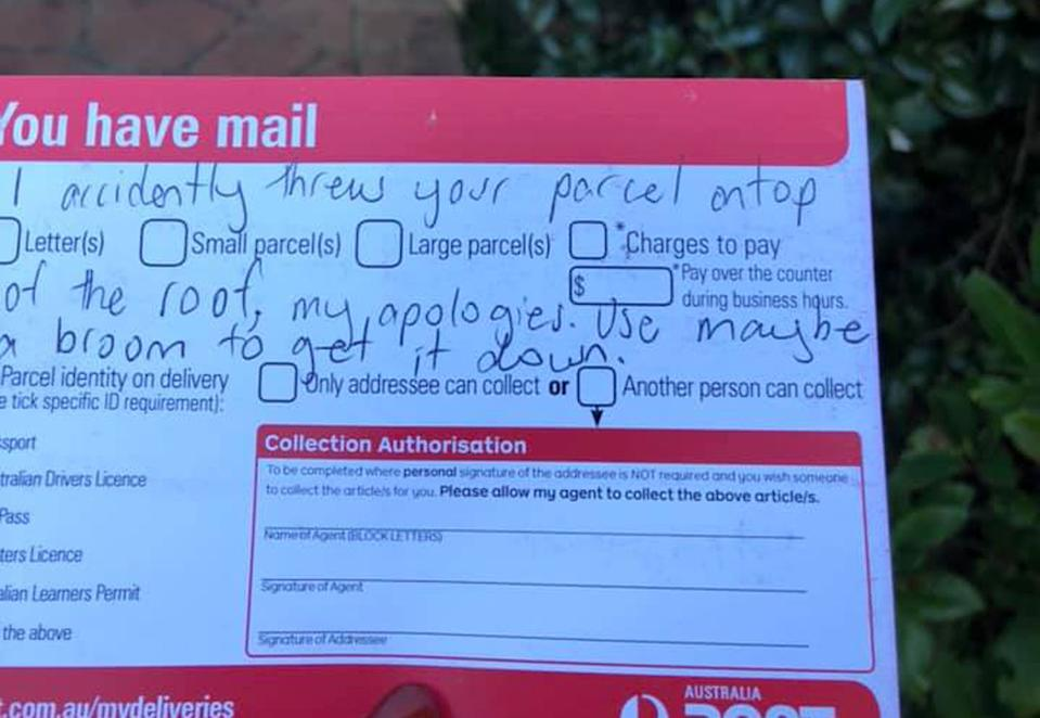An Australia Post parcel notice with a handwritten note. The note claims the parcel was thrown on the roof of a Castle Hill home by accident.