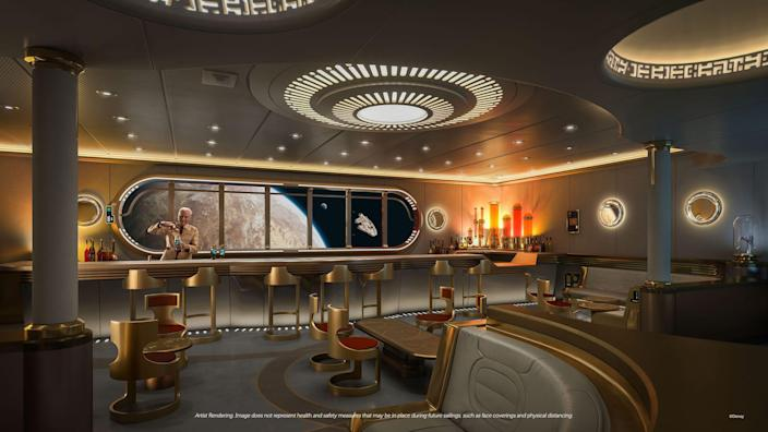 For the first time on a Disney ship, guests will embark on a space-jumping tour of the Star Wars galaxy at Star Wars: Hyperspace Lounge, a high-end bar styled as a luxurious yacht-class spaceship. This richly themed, immersive experience will be reserved for adults every evening, offering interactive tasting experiences and signature beverages inspired by destinations such as Batuu, Tatooine and Mustafar.