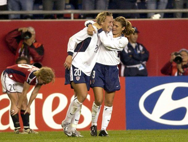 PHOTO: Mia Hamm celebrates with a hug from Abby Wambach, October 1, 2003, during the quarterfinals of the FIFA Women's World Cup USA. (Al Messerschmidt/WireImage via Getty Images)