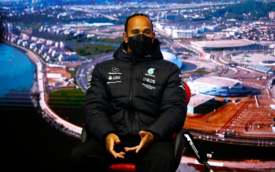 Lewis Hamilton of Great Britain and Mercedes GP talks in the Drivers Press Conference during previews ahead of the F1 Grand Prix of Russia at Sochi Autodrom on September 23, 2021 in Sochi, Russia. - GETTY IMAGES