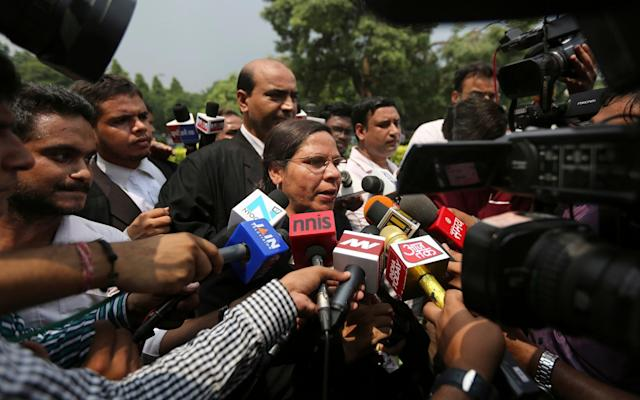 Farha Faiz, a Supreme Court lawyer, speaks to members of the media after the court declared 'Triple Talaq'unconstitutional in its verdict in New Delhi - AP