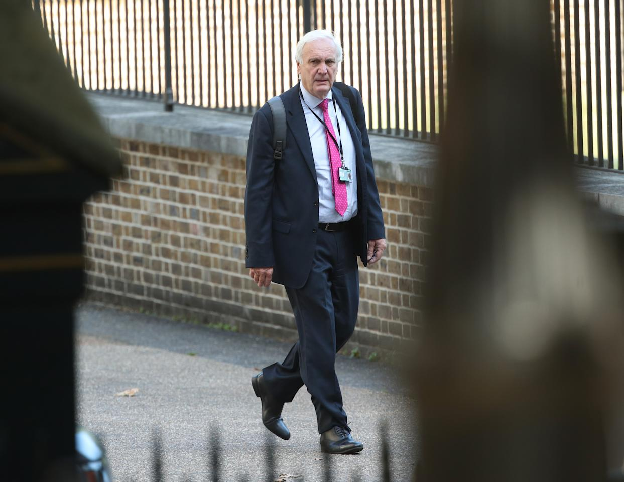 Sir Edward Lister, Boris Johnson's chief of staff, arrives in Downing Street in London.