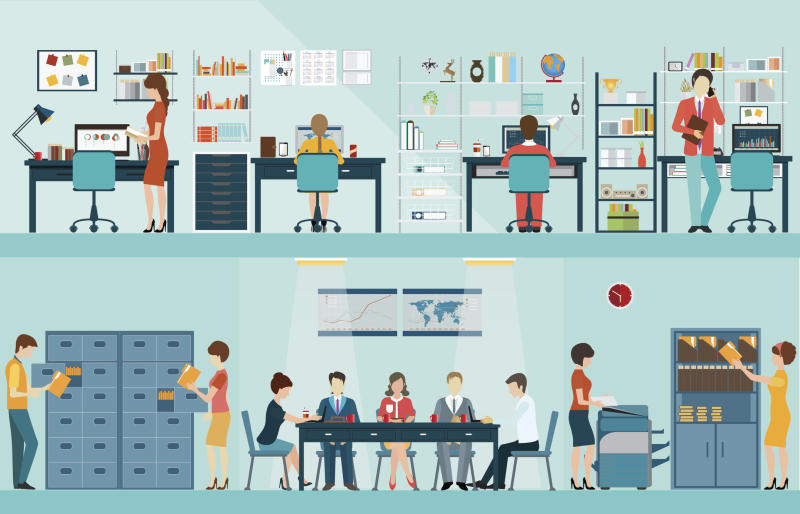 Illustration of business meetings, teamwork, and brainstorming sessions.