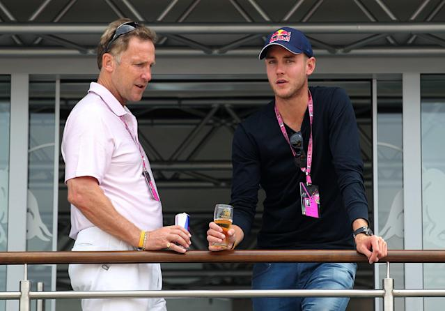 England cricketer Stuart Broad (right) before the race during the Italian Grand Prix and the Autodromo Nazionale Monza, Monza, Italy.