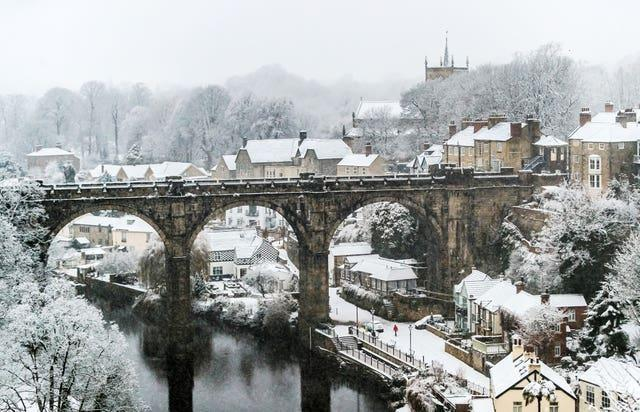Snow covers Knaresborough Viaduct in North Yorkshire