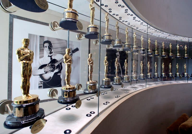 FILE PHOTO: Oscars won by MGM films are displayed at MGM studios office in Los Angeles