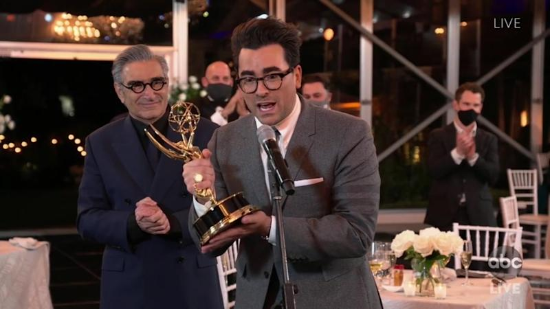 "Dan and Eugene Levy after winning the Emmy for comedy series for ""Schitt's Creek."""