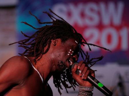 Emmanuel Jal performs at the ContraBand Showcase at the South by Southwest Music Film Interactive Festival 2017 in Austin