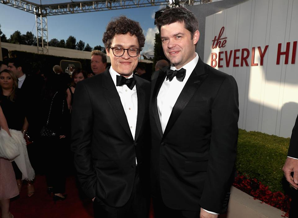 BEVERLY HILLS, CA – JANUARY 06: 76th ANNUAL GOLDEN GLOBE AWARDS — Pictured: (l-r) Phil Lord and Chris Miller arrive to the 76th Annual Golden Globe Awards held at the Beverly Hilton Hotel on January 6, 2019. — (Photo by Christopher Polk/NBC/NBCU Photo Bank)