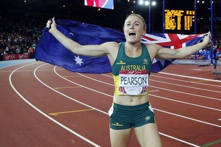 Pearson of Australia celebrates after winning the gold medal in the women's 100m hurdles at the 2014 Commonwealth Games in Glasgow