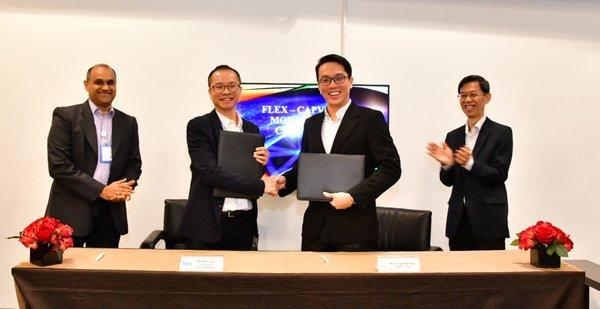 Flex signs MOU with Cap Vista at the Flex Advanced Incubation Centre, Changi. From Left: Jacob Kanianthara, VP Operations, Southeast Asia at Flex, Alvin Low, General Manager, Flex Changi, Chng Zhen Hao, CEO, Cap Vista and Quek Gim Pew, Chairman, Cap Vista.
