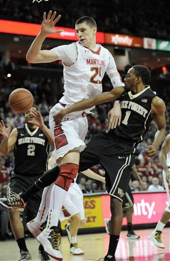 Wake Forest guard Madison Jones (1) passes the ball against Maryland center Alex Len (25) during the first half of an NCAA college basketball game, Saturday, Feb. 2, 2013, in College Park, Md. Also seen is Wake Forest forward Devin Thomas (2). (AP Photo/Nick Wass)