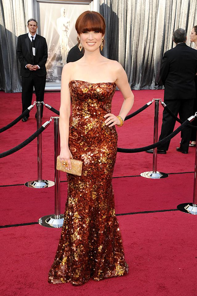 Ellie Kemper arrives at the 84th Annual Academy Awards in Hollywood, CA.