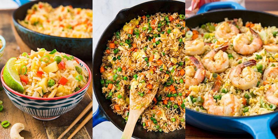 """<p>There's no beating a batch of freshly-cooked fried rice from the takeaway... or, is there? Yes! Make it yourself, people. We've got everything from <a href=""""https://www.delish.com/uk/cooking/recipes/a29185448/how-to-make-pork-fried-rice/"""" rel=""""nofollow noopener"""" target=""""_blank"""" data-ylk=""""slk:Pork Fried Rice"""" class=""""link rapid-noclick-resp"""">Pork Fried Rice</a> to <a href=""""https://www.delish.com/uk/cooking/recipes/a28756557/beef-fried-rice-recipe/"""" rel=""""nofollow noopener"""" target=""""_blank"""" data-ylk=""""slk:Beef Fried Rice"""" class=""""link rapid-noclick-resp"""">Beef Fried Rice</a>, <a href=""""https://www.delish.com/uk/cooking/recipes/a30119032/chicken-fried-rice-recipe/"""" rel=""""nofollow noopener"""" target=""""_blank"""" data-ylk=""""slk:Chicken Fried Rice"""" class=""""link rapid-noclick-resp"""">Chicken Fried Rice</a> to <a href=""""https://www.delish.com/uk/cooking/recipes/a30774801/easy-pineapple-fried-rice-recipe/"""" rel=""""nofollow noopener"""" target=""""_blank"""" data-ylk=""""slk:Pineapple Fried Rice"""" class=""""link rapid-noclick-resp"""">Pineapple Fried Rice</a>. You can pretty much make fried rice whatever way you fancy, and with whatever ingredients you have lurking around in the kitchen. </p><p>For some easy-to-make fried recipes (that literally come together in minutes), take a look at some of our favourites now. We're convinced you'll love them... </p><p>And if you fancy recreating the complete takeaway experience, make a batch of this delicious <a href=""""https://www.delish.com/uk/cooking/recipes/a30959950/chicken-chow-mein-recipe/"""" rel=""""nofollow noopener"""" target=""""_blank"""" data-ylk=""""slk:Chicken Chow Mein"""" class=""""link rapid-noclick-resp"""">Chicken Chow Mein</a>, too. </p>"""