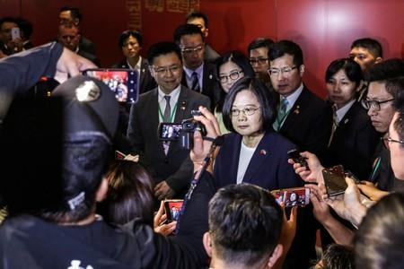 Taiwan President Tsai Ing-wen speaks to media at the Taipei Economic and Cultural Office in New York during her visit to the U.S